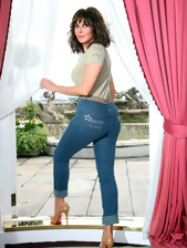 Massive irritant beauties overhead touching jeans