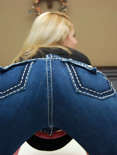 Constricted rump beauties in jeans