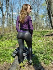 Girls with round ass in darksome leggings